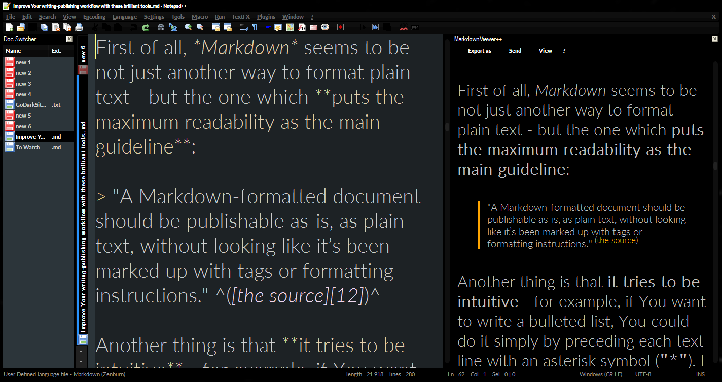 Markdown live preview within Notepad++.