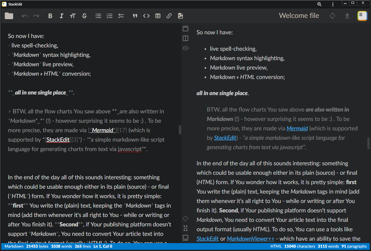 In-browser Markdown editor.